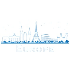 Outline Famous landmarks in Europe vector image