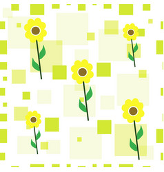 seamless floral pattern with sunflowers vector image