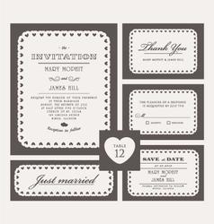 Set Classic Wedding Invitations vector image vector image