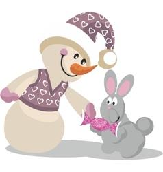 Snowman color 14 vector image vector image