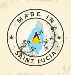 Stamp with map flag of Saint Lucia vector image