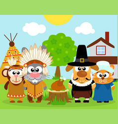 Thanksgiving day background with funny animals vec vector