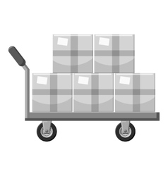 Truck with boxes icon gray monochrome style vector image vector image