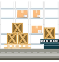 Warehouse with boxes for shipping vector