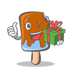 Wink ice cream character cartoon with gift vector