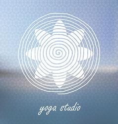 Yoga logo on blured background flower shaped vector
