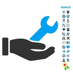 Wrench service flat icon with bonus vector