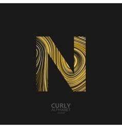 Curly textured letter n vector