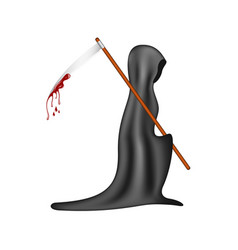 grim reaper with bloody scythe vector image