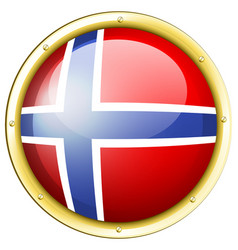 Norway flag on round badge vector