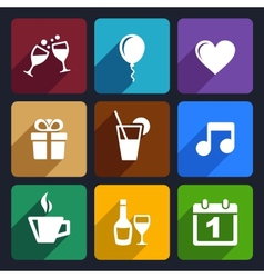 Party and Celebration icons set 29 vector image