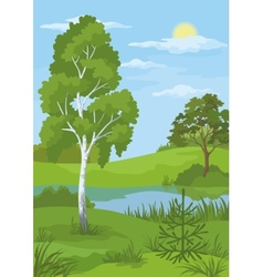 Summer landscape with trees and river vector