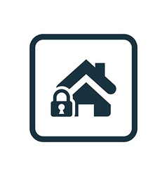 Home lock icon rounded squares button vector