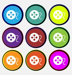 Film icon sign nine multi colored round buttons vector