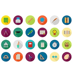 Education round icons set vector