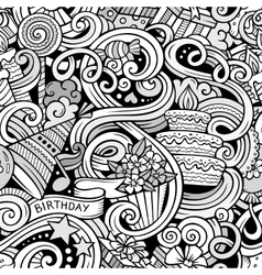 Cartoon hand-drawn doodles birthday theme seamless vector