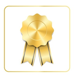 Award ribbon gold icon vector