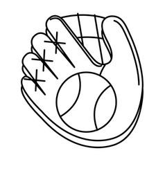 baseball glove and ball isolated icon vector image