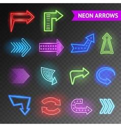 Bright neon arrows set vector