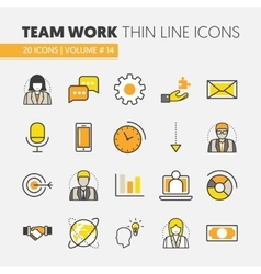 Business Team Work Line Art Thin Icons Set vector image
