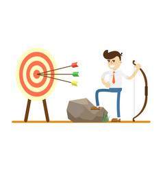 Businessman with bow near archery target vector