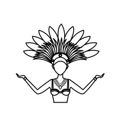 Cartoon woman samba dancer brazil carnival vector