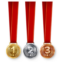Champion medals set metal realistic first vector