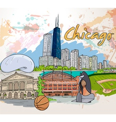chicago doodles vector image vector image
