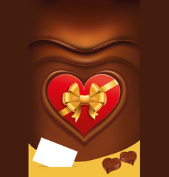 Chocolate background with read heart package vector
