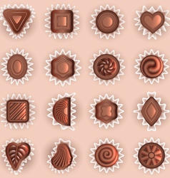chocolates of different shapes vector image vector image