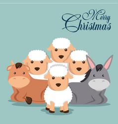 Christmas animal manger cartoon vector