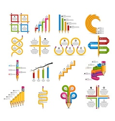 Collection Infographics for education brochures vector image