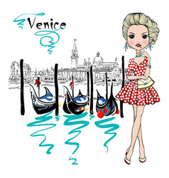 cute fashion girl in venice italia vector image vector image
