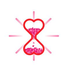 Hart sandglass valentines background vector