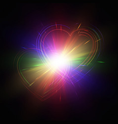 multicolored hearts on a dark background vector image