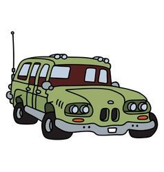 Old green station wagon vector