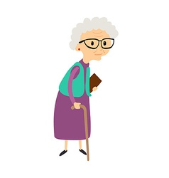 Old woman with cane senior lady with glasses vector