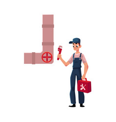Plumbing specialist holding wrench toolbox ready vector
