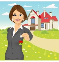 Real estate agent holding the key of a new house vector