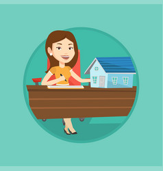 real estate agent signing contract vector image