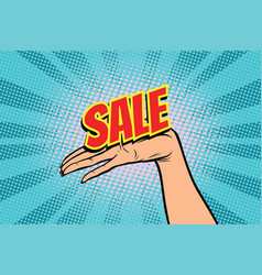 sale word women open palm hand hold gesture vector image