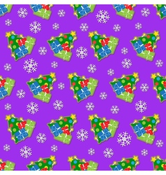 Seamless wrapping paper - colored christmas trees vector