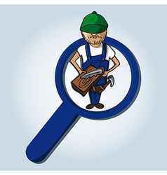 Service search wood worker boy cartoon vector image vector image