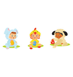 Set of kids in easter costumes with eggs vector