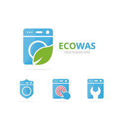 set of laundry logo combination washing machine vector image