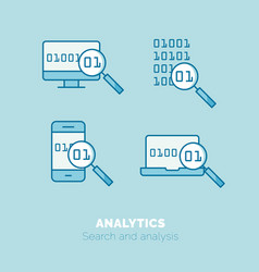 simple icons set of analytics flat thin line vector image