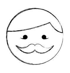 Sketch draw round moustache man face cartoon vector