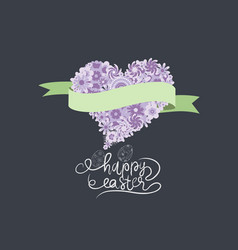 Spring and easter with flower heart and ribbon vector