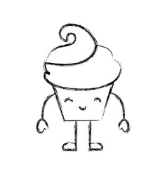 Sweet and delicious cupcake kawaii character vector