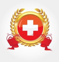 switzerland flag button vector image vector image